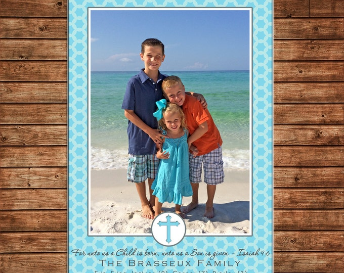 Photo Picture Christmas Holiday Card Buffalo Check Gingham Scallop Turquoise Red - Digital File