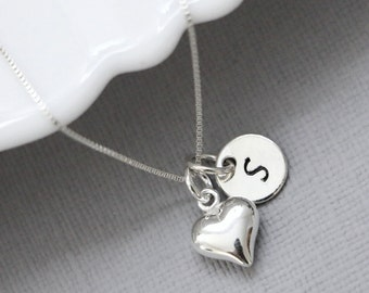 Personalized Heart Necklace, Sterling Silver and Pearl Heart Necklace, Sterling Silver Heart Necklace, Initial Necklace, Flower Girl Gift