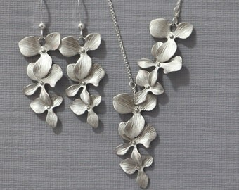 Orchid Jewelry Set, Mother of the Bride Gift,  Cascade Orchid Jewelry Set, Bridal Jewelry Set Bridesmaid Necklace and Earring Set