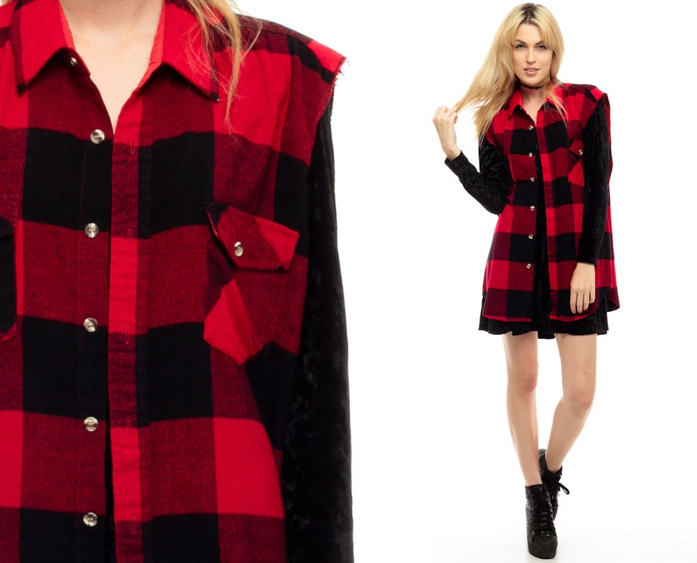 Plaid flannel shirt vest 90s red buffalo plaid sleeveless for Flannel shirt and vest