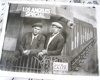 As Is Good Bye Calif Los Angeles Special RPPC Vintage Post Card of Two Men on Fake Caboose One end cut off but the Picture In Tact