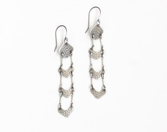 "Long dangle silver earrings designed with softened chevron elements connected in series, fashionable lightweight design - ""Avery Earrings"""