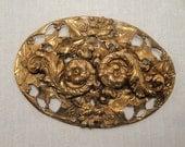 Vintage Art Nouveau Repousse Floral Sash\ Pin Brooch
