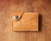 "Leather Wallet ""The Loaded Dave"" in Distressed Caramel w/ cash pocket addition - Ready to Ship"
