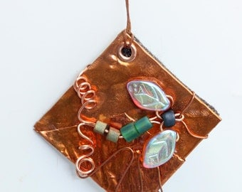 Copper Necklace  with Aqua Dragonfly - Item N11