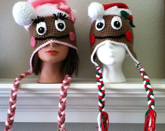 Made to Order baby child adult Christmas Gingerbread Man Boy or Girl Earflap Santa Hat Cap Crochet Crocheted Handmade Beanie with Braids