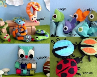 Enchanted Forest Felt Baby Toy Pattern Great handmade touch for baby showers woodland fox, owl, fish, snakes, bugs, baby boy or girl unisex
