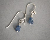 Natural Sapphire and sterling silver earrings