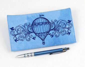 Hot Air Balloon Checkbook Cover for Duplicate Checks with Pen Holder,  Machine Embroidered on Blue Cotton Fabric