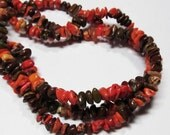 "7.5"" Gemstone STRAND - Howlite Beads - Mini Organic Nuggets - Autumn Colors (7.5"" strand ~55 beads) - str989"
