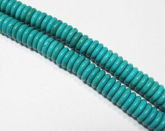 LOOSE Gemstone Beads - Magnesite Beads - 3x10mm Discs - Light Turquoise Blue (15 beads) - gem1048