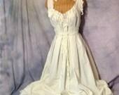 Boho Wedding Dress Beach Offbeat Bride Cream Cotton Unique Bridal Gown by Savoyfaire