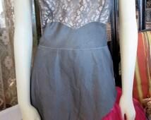 1950s Fabulous Vintage Barbizon Dress-Mate Gray Illusion Lace Fuchsia Tulle Slip Costume Burlesque 36 Bust