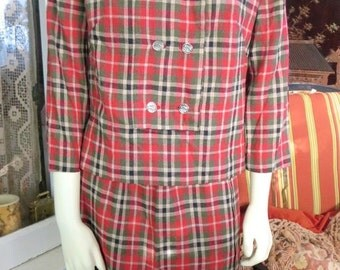 1950s Vintage Wool Tartan Plaid Two Piece Women's Suit Skirt & Jacket 38 Bust