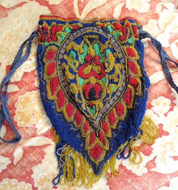 1920s Antique FLAPPER Peacock Tail Paisley BEADED Evening Bag PURSE Downton Abbey Art Deco Stunning Colors