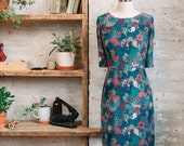 Amelie Silk Liberty Print Dress - sheath dress - silk dress -  knee length dress with sleeves - office dress - Liberty of London dress