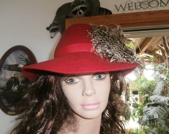 Womens Hat : Red  Hat ~Large Feather~ Designer  Feather Fox Women Vintage Red Feather Fedora