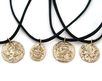 Mens Bronze Coin Necklace - Strength Power Wisdom, Lion, Ganesh, Owl, Griffin, Mens necklace, Mens Jewelry, Gifts with meaning, Gift for him