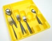 Vintage 1950s Rubbermaid Yellow Flatware Tray