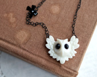 ON SALE  White and Black Owl Necklace with Side Bow
