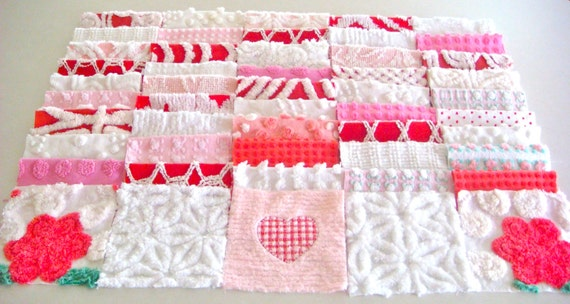 Pink, Red and White Roses and Heart Vintage Chenille Quilt Square Set 50 6-Inch