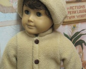 """Camel (Tan) with Brown Trim Fleece Coat and Hat for 18"""" Boy Doll"""