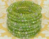 6 Bracelets Iridescent Olivine Green Crystal Faceted Fire Polish Silver Bead Bangle Set Memory Wire Stocking Stuffer Party Favor Bulk Beaded