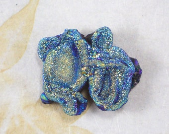 Incredible Drusy Freeform Crystal Druzy Unique Green & Gold Beading Cabochon  (D2288)