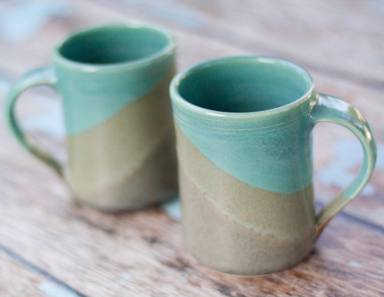 Large Handmade Ceramic Mugs Slate and Aqua blue 16 oz