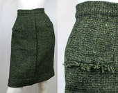 Vintage 1950s 60s Green Boucle Skirt W 24 Campus Casuals XS S with Pockets