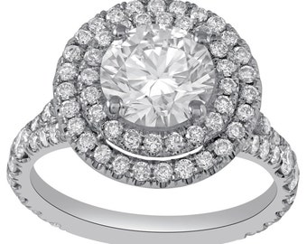 Round Cut Double Halo Split Shank Diamond Engagement Ring R217