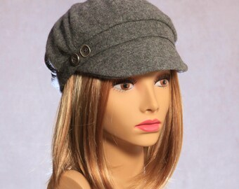 Emilie,  100% pure Cashmere Newsboy Hat...charcoal heather