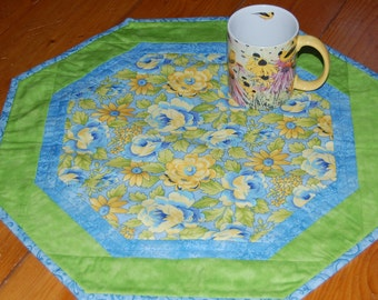 Blue and Yellow Floral Octagon Table Topper