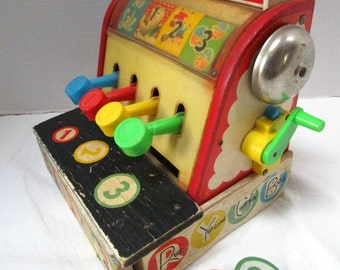 REDUCED Vintage Fisher Price Toy Cash Register & Coins, Ka Ching! Child Play, Pretend Store, USA, Primary Colors, Nursery Ryhmes Wooden,