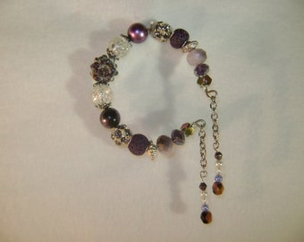 Eggplant and Crystal Beaded Bracelet