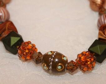 Brown Green and Orange Beaded Bracelet