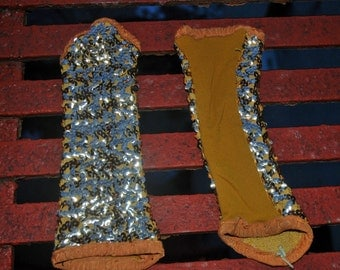 Vintage Gold Sequin Fingerless Marching Band Gloves