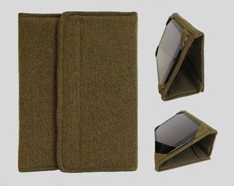 Galaxy Tab S2 Case, Fire HD 10 Case, Nexus 9 Case, Kindle Fire HDX 8.9 Case, Samsung Galaxy Tab 10.1, Nexus 10 Case Wool Gold Herringbone