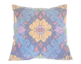 Indonesian Ikat, Pillow, Cushion, Hand Woven, Hand Dyed, 16 x 16, Blue