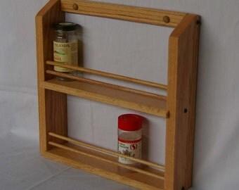 Oak Wooden Double Shelf Classic Spice Rack