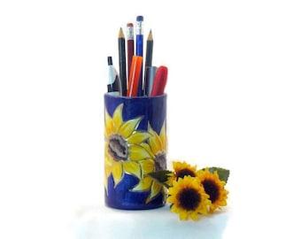 Ceramic Pencil Holder - Sunflower Pencil Holder – Sunflower Pen Holder