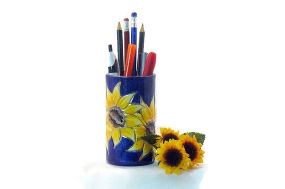 Ceramic Pencil Holder - Sunflower Pencil Holder – Sunflower Pen Holder
