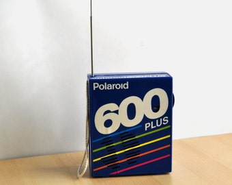 80s Polaroid Radio 600 Plus Film Plastic Collectible 1980s Royal Blue Rainbow