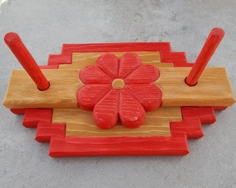 Napkin Holder  ~  Red Hand Carved Napkin Holder