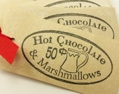 CUSTOM LISTING for Meem5 Christmas Tags Hot Chocolate and Marshmallows Coffee Stained Set of 8