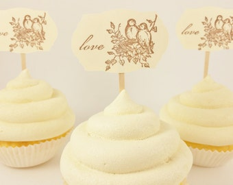 Wedding Cupcake Toppers Love Birds Nest Set of 24