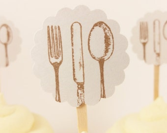 Silverware Cupcake Toppers Gray Wedding Bridal Shower Tea Party Set of 24