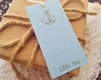 Baby Shower Sailboat Mini Wish Tags Wishing Tree Cards Its a Boy Set of 30
