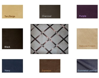 Suede or Leather French Memo Board  with Ribbon 11 x 14 -  Your choice of fabric and  ribbon colors - FREE Domestic Ship