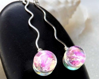 Dichroic Fused Glass Earrings in Translucent, Tropical Pink Fruit Basket Cha Cha Colors, Squiggle Sterling Silver Earrings